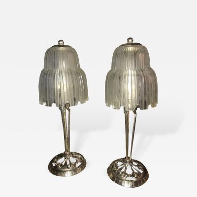 Sabino Glass Art Deco Pair of Table Lamps