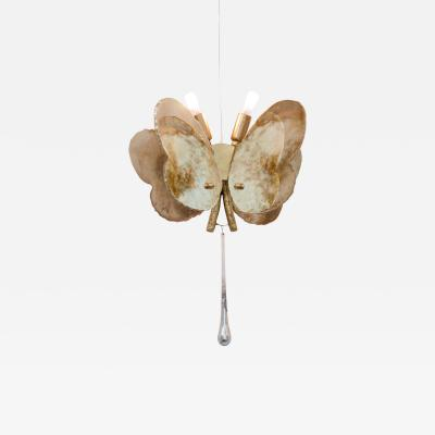 Sabrina Landini Butterfly Hanging Lamp in Silvered Glass Brass Crystal Handmande in Tuscany