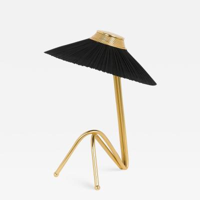 Sabrina Landini Freevolle Led Table Lamp in Brass and Pleated linen or Silk Taffeta