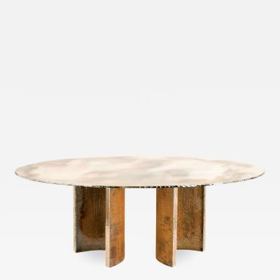 Sabrina Landini Gem Dining Table Double Glass Top with Silvered Glass Metal Legs