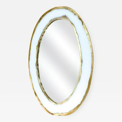 Sabrina Landini Life Mirror Opale white Silvered Glass Mirror and Birch Wood Handmade in Italy