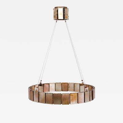 Sabrina Landini Ring Chandelier Pendant Lamp in metal and Silvered Glass Sheets