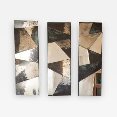 Sabrina Landini Trio Sculptural Mirrors with Silvered Glass in golden and dark grey tones