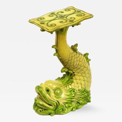 Saffron Yellow Moss Green Lacquered Dolphin Pedestal Table