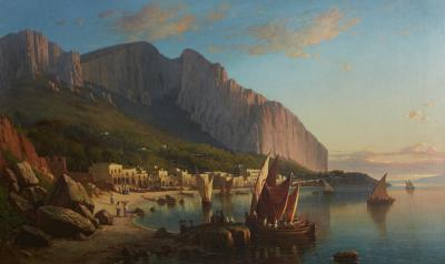 Sail Boats and Fishermen on the Coast of Capri