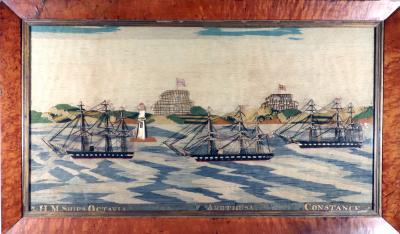 Sailors Woolwork Woolie of a Fleet Passing Two Forts