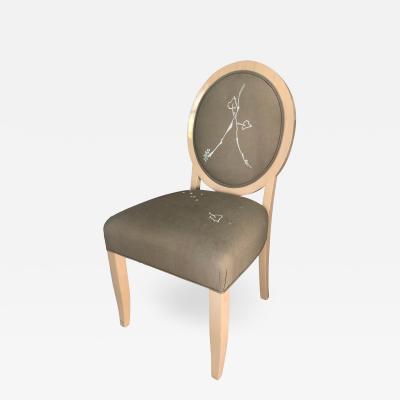 Sally Sirkin Lewis J Robert Scott Art Deco Baloon Back Modern Art Embroidered Chair