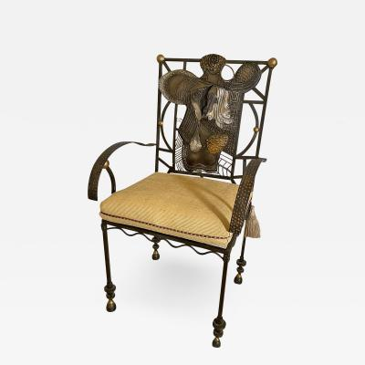 Salvador Dal American Modern Surrealist Steel Parcel gilt Armchair manner of Salvador Dali