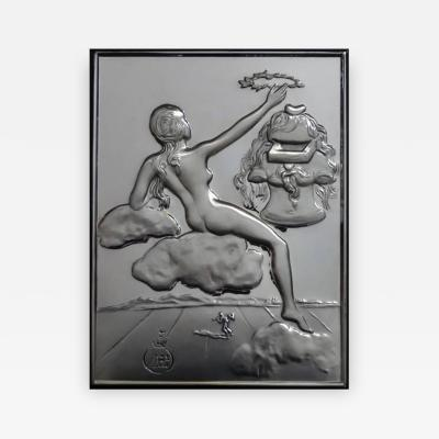 Salvador Dal Homage to Philosophy silver bas relief