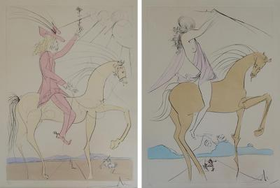 Salvador Dal Pair of Salvador Dali Two etchings on papers Amazon and Cavalier a la rose