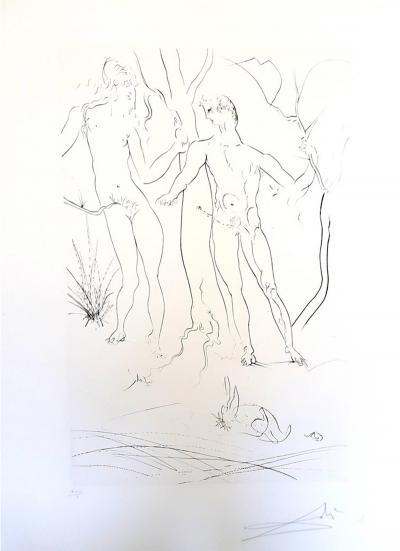 Salvador Dal Salvador Dali Adam and Eve Handsigned Etching