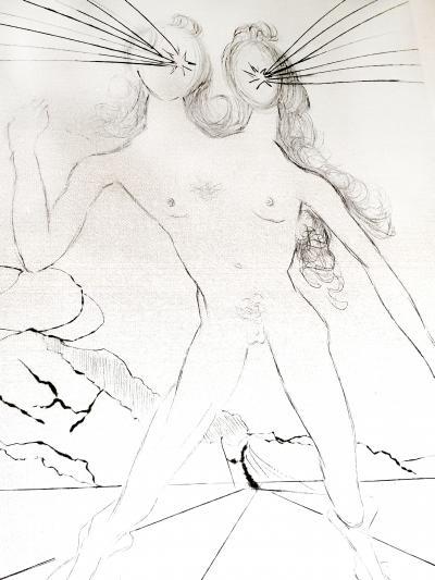 Salvador Dal Salvador Dali Bicephale Original Etching on Silk