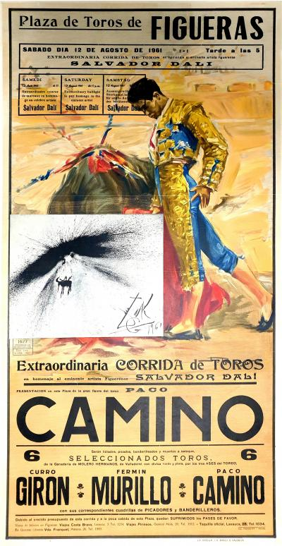 Salvador Dal Salvador Dali Corrida Vintage Poster with Etching