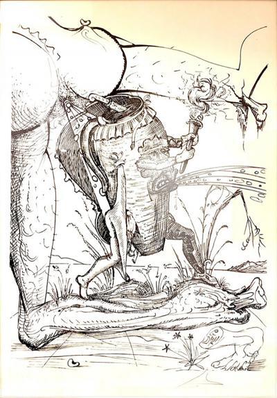 Salvador Dal Salvador Dali Les Songes Drolatiques Handsigned Lithograph