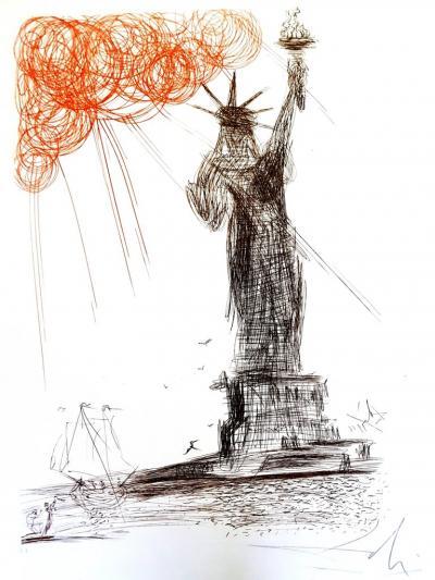 Salvador Dal Salvador Dali Statue of Liberty Original Handsigned Etching
