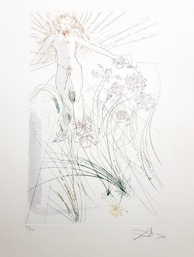 Salvador Dal Salvador Dali The Beloved Feeds Among the Lilies Signed Aquatint