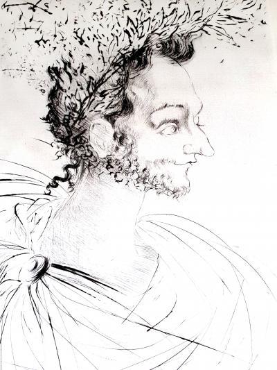 Salvador Dal Salvador Dali The Crown Original Etching on Silk