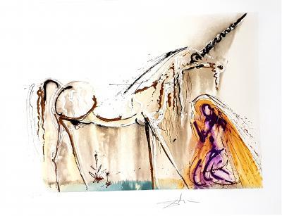Salvador Dal Salvador Dali Unicorn Original Lithograph