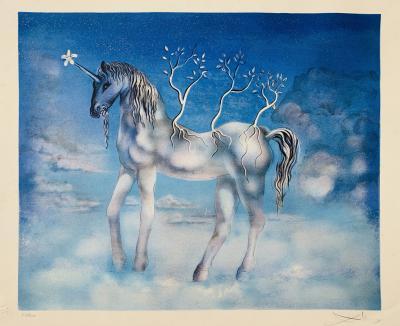 Salvador Dal Surrealist Salvador Dali Blue Unicorn Lithograph signed and numbered 87 300