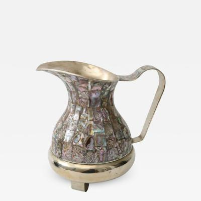 Salvador Teran Abalone and Silver Plate Water Pitcher