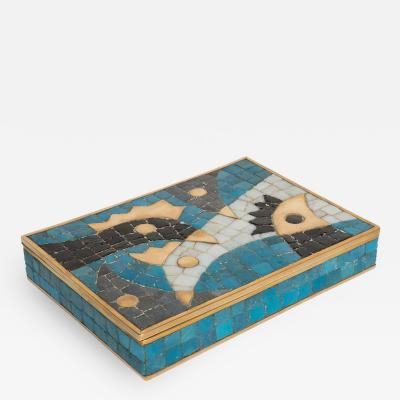 Salvador Teran Brass Box with Inlaid Mosaic Bird Design by Salvador Teran