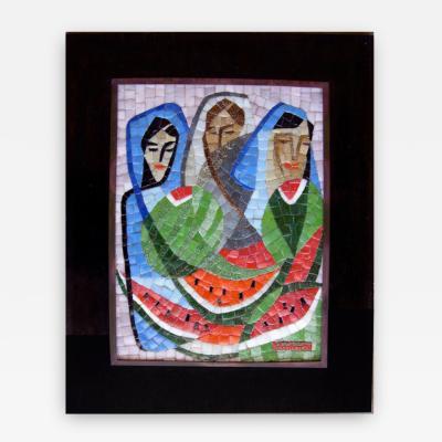 Salvador Teran Framed Glass Figural Tile Mosaic by Salvador Teran