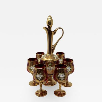 Salvadori Murano Contemporary Venetian Enameled Wine Set by Salvadori Set of 7