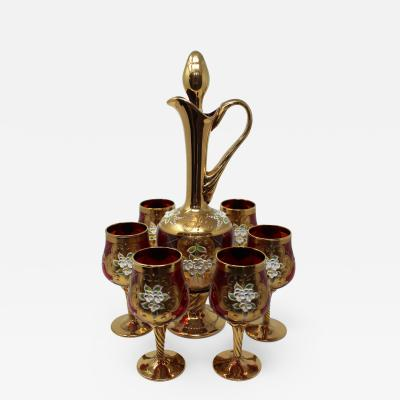 Salvadori Murano Enameled Venetian Stemware Set