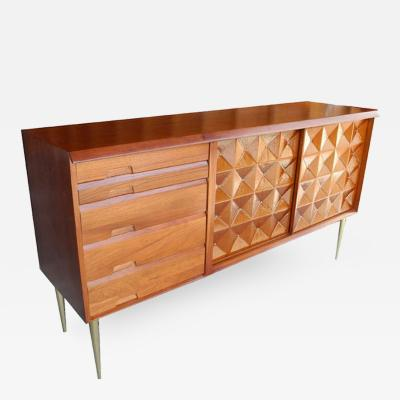 Salvatore Bevilacqua Mid Century Modern Sideboard Credenza Bar in Butternut by Salvatore Bevilacqua