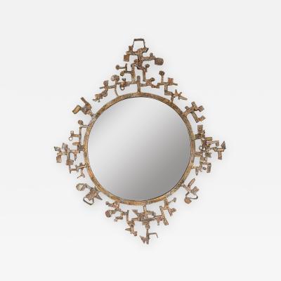 Salvino Marsura Italian Brutalist Sculptural Mirror Patinated Metal by Salvino Marsura Signed