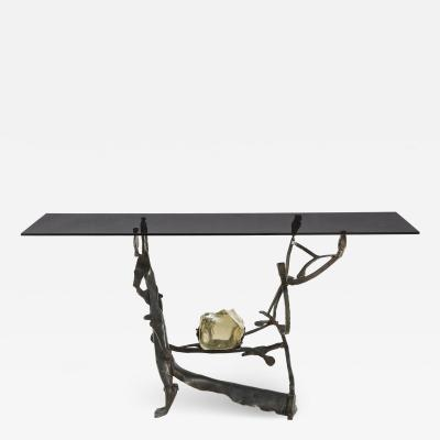 Rare Handcrafted Iron and Smoked Murano Glass Brutalist Console, Italy 1970