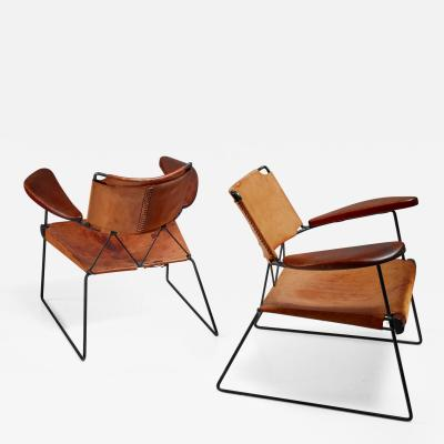 Sam Resnick Pair of Sam Resnick Chairs with Heavy Saddle Leather American 1960s