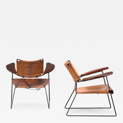 Sam Resnick Pair of Sam Resnick Chairs with Heavy Saddle Leather American 19650s