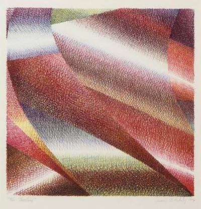 Samia Halaby Samia Halaby Cleveland Abstract Original Lithograph signed 1970s
