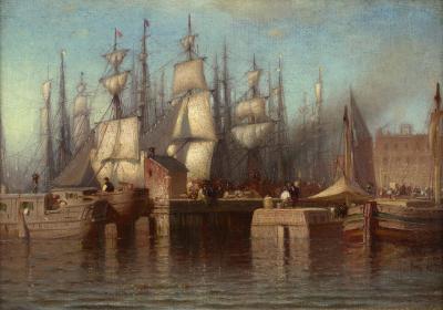 Samuel Colman View of the Seaport New York