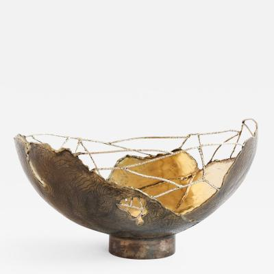 Samuel Costantini Brass Hand Sculpted Bowl by Samuel Costantini