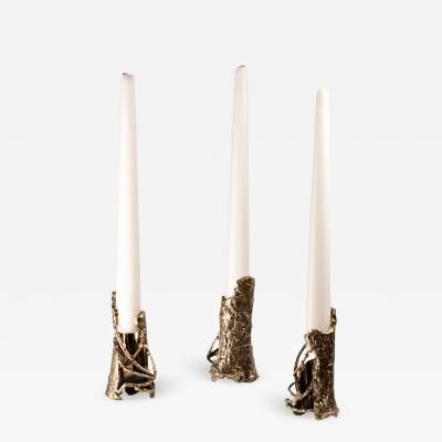 Samuel Costantini Ensemble of Brass Hand Sculpted Candleholders by Samuel Costantini