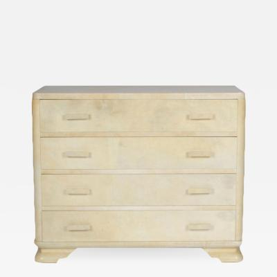 Samuel Marx 4 drawer parchment covered dresser in the manner of the architect Samuel Marx