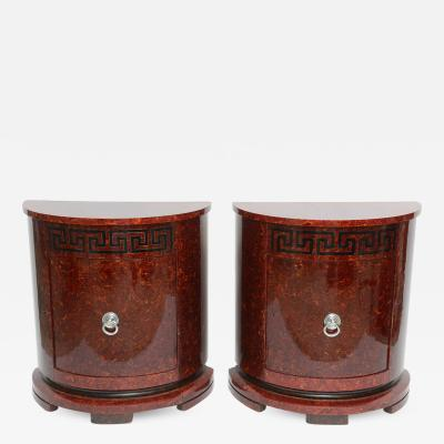 Samuel Marx Fine Pair of Faux Tortoise and Ebonized Demilune Cabinets Samuel Marx