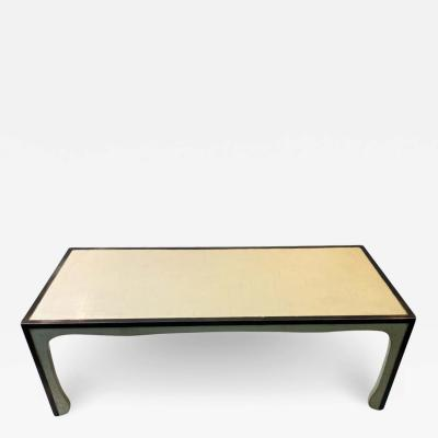 Samuel Marx MODERNIST PARCHMENT NICKELED BRONZE COFFEE TABLE IN THE MANNER OF SAMUEL MARX