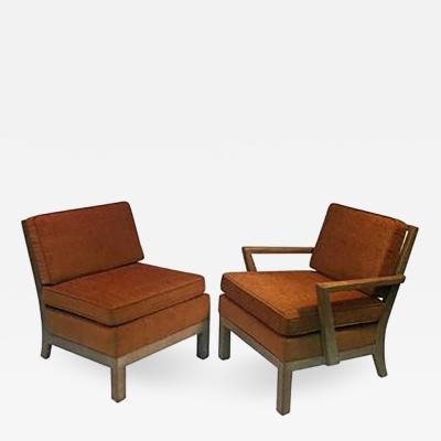Samuel Marx Phenomenal Modernist Pair of His Hers Cerused Oak Armchairs