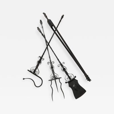 Samuel Yellin Important Set of Four Bronze and Wrought Iron Firetools