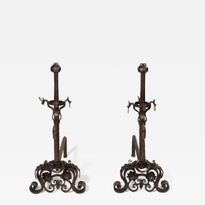 Samuel Yellin Unusual Arts and Crafts Andirons