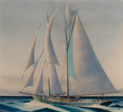 Sandor Bernathy Watercolor of a racing yacht under full sail