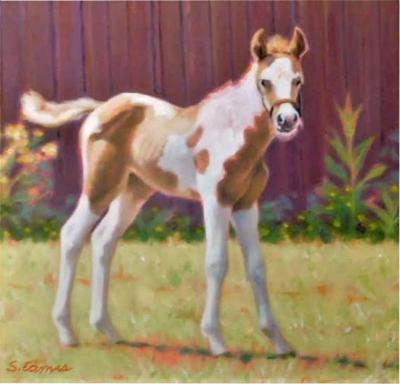 Sandra Eames Pony Up Small Oil Painting on Artist Board by Sandra Eames 2017