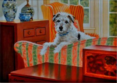 Sandra Eames Sandra Eames On the Couch Oil Painting on Canvas of Jack Russell Terrier