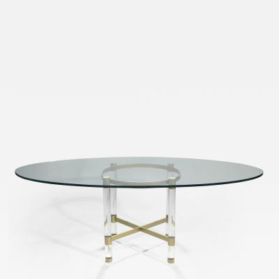 Sandro Petti Brass and lucite dining table by Sandro Petti for Metalarte 1970s