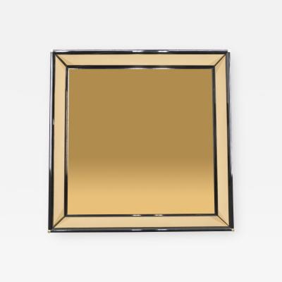 Sandro Petti Italian Mirror by Sandro Petti black lacquered brass mirrored 1970s