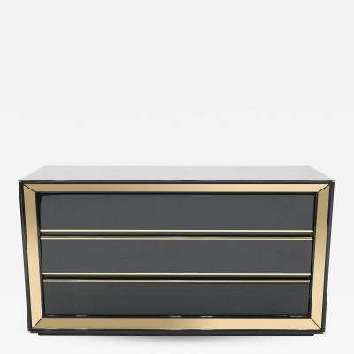 Sandro Petti Large Italian Sandro Petti black lacquered brass mirrored chest of drawers 1970s