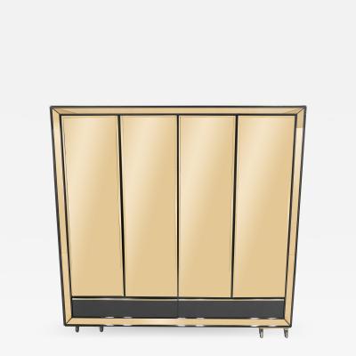 Sandro Petti Large Italian Sandro Petti black lacquered brass mirrored wardrobe cabinet 1970s